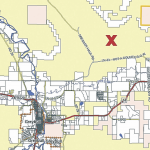 The red X marks the spot east of Greybull where Richardson's dark colored  Jeep Compass was discovered.