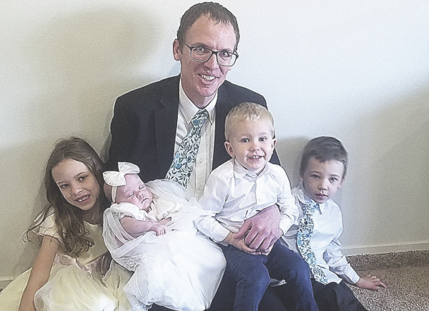 The Davidsons (r-l) Madison, Elsie, Ross, Hyrum and Mark. Elsie is wearing a dress her mom Hannah made.   courtesy photo